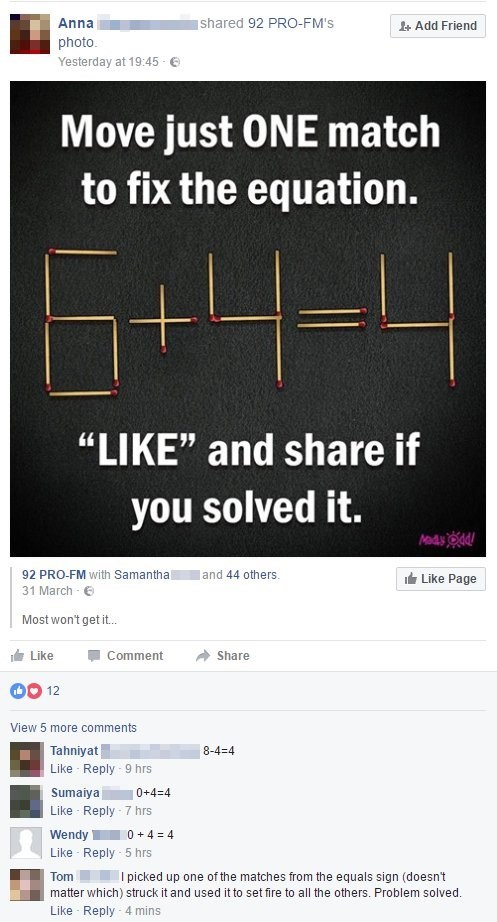 riddle facebook maths solution