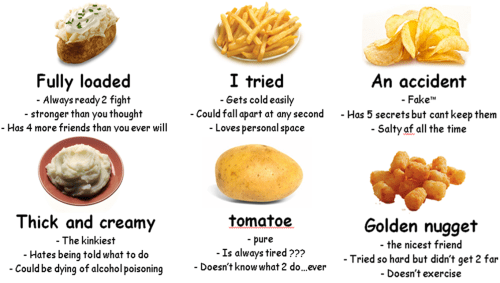 """Junk food - I tried An accident Fully loaded - Always ready 2 fight - stronger than you thought - Gets cold easily Could fall apart at any second -Loves personal space -Fake"""" -Has 5 secrets but cant keep them Salty af all the time - Hos 4 more friends than vou ever will Thick and creamy tomatoe Golden nugget -The kinkiest pure Is always tired ??? - Doesn't know what 2 do...ever - the nicest friend -Hates being told what to do Tried so hard but didn't get 2 far Doesn't exercise -Could be dying of"""