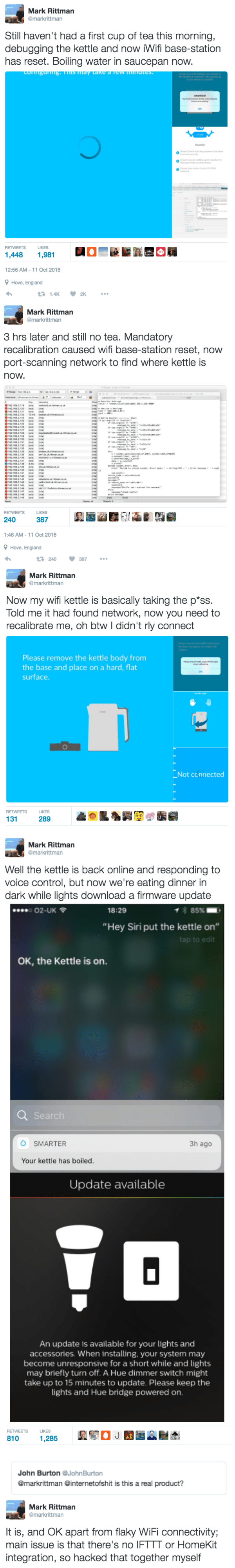 screen grab of twitter person trying to get his wifi kettle working