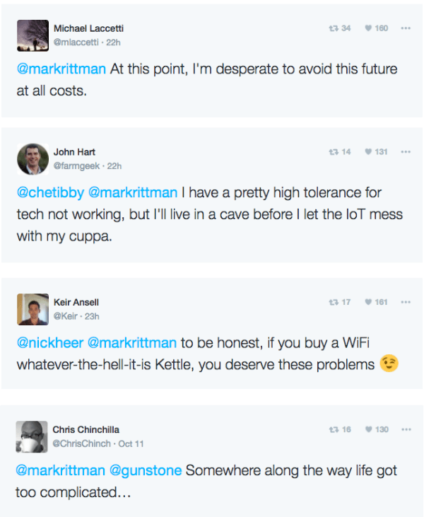 Twitter comments about the wifi kettle ordeal.