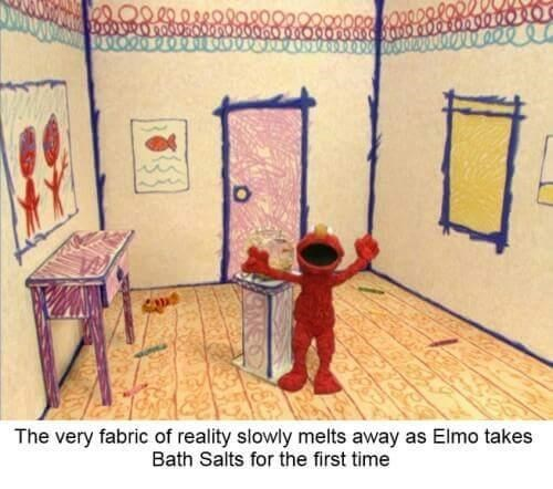 Guillotine - The very fabric of reality slowly melts away as Elmo takes Bath Salts for the first time