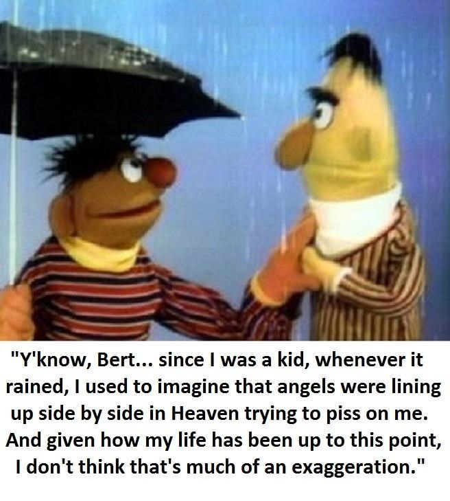 "Cartoon - ""Y'know, Bert... since I was a kid, whenever it rained, I used to imagine that angels were lining up side by side in Heaven trying to piss on me And given how my life has been up to this point, I don't think that's much of an exaggeration."""