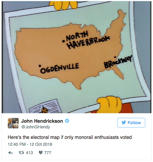Text - NORTH HAVERBRook OGDENVILLE BRockWAY John Hendrickson @JohnGHendy Follow Here's the electoral map if only monorail enthusiasts voted 12:40 PM - 12 Oct 2016 t 413 777