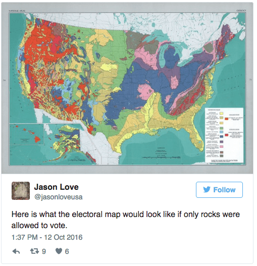 Map - GO0GY eO LAL Jason Love Follow @jasonloveusa Here is what the electoral map would look like if only rocks were allowed to vote. 1:37 PM - 12 Oct 2016 t9