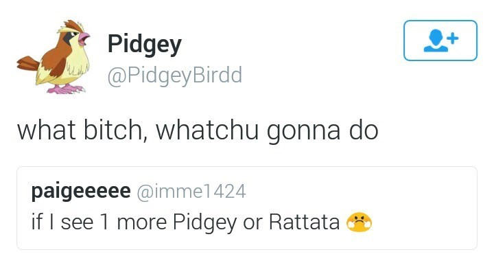 Text - Pidgey @PidgeyBirdd what bitch, whatchu gonna do paigeeeee @imme1424 if I see 1 more Pidgey or Rattata