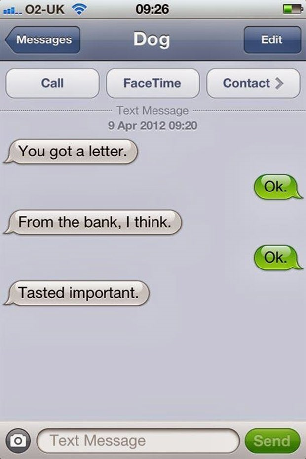Text - 09:26 02-UK Dog Messages Edit Face Time Call Contact Text Message 9 Apr 2012 09:20 You got a letter. Ok. From the bank, I think. Ok. Tasted important. Text Message Send