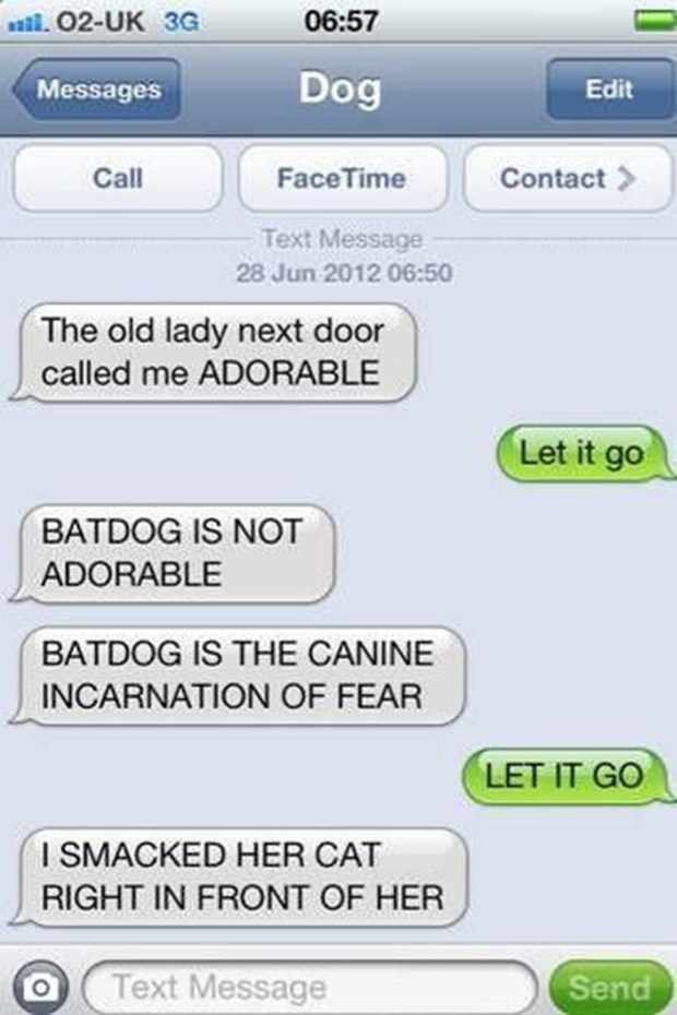 Text - 02-UK 3G 06:57 Messages Dog Edit Call FaceTime Contact Text Message 28 Jun 2012 06:50 The old lady next door called me ADORABLE Let it go BATDOG IS NOT ADORABLE BATDOG IS THE CANINE INCARNATION OF FEAR LET IT GO I SMACKED HER CAT RIGHT IN FRONT OF HER Text Message Send