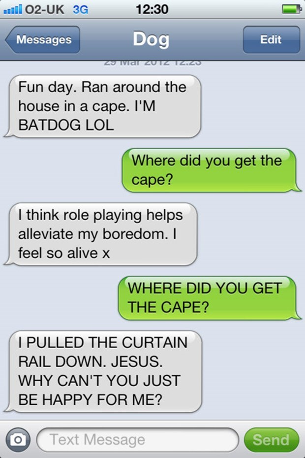 Text - 02-UK 3G 12:30 Dog Messages Edit Fun day. Ran around the house in a cape. I'M BATDOG LOL Where did you get the сape? I think role playing helps alleviate my boredom. I feel so alive x WHERE DID YOU GET THE CAPE? PULLED THE CURTAIN RAIL DOWN. JESUS. WHY CAN'T YOU JUST BE HAPPY FOR ME? Text Message Send