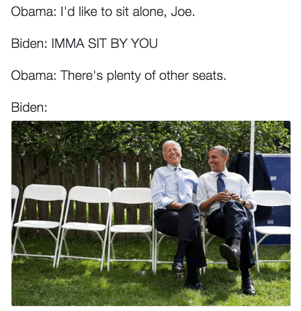 Funny meme picture of Obama and Biden sitting together. Posting 1k3kf93k of the two men sitting on the grass.