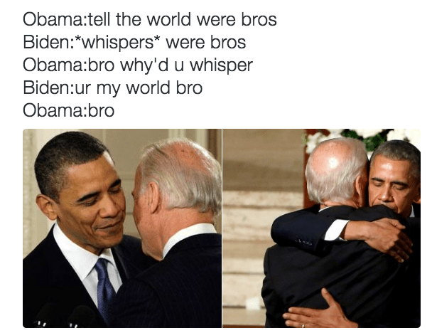 Image number 1k3kf93k - Funny pictures of Obama and Biden hugging, with funny captions about Joe being needy but Barry playing into it.