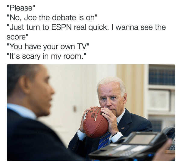 Funny picture of Obama at his desk and Biden with a football complaining how it is scary in his room