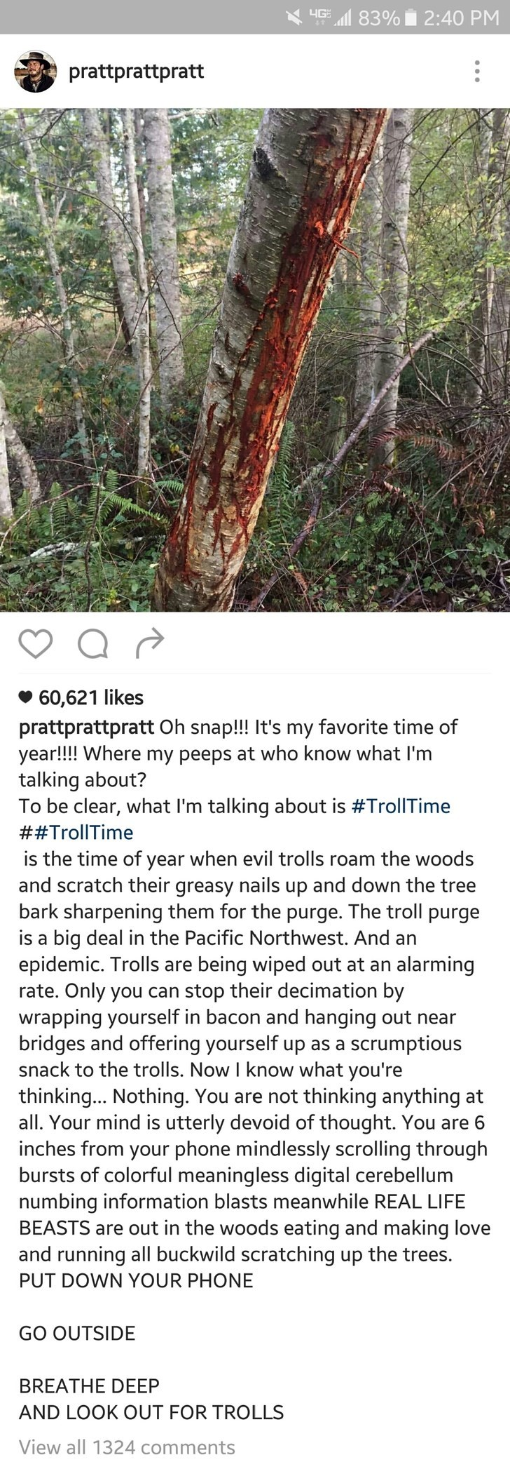 Terrestrial plant - HG 83% 2:40 PM prattprattpratt 60,621 likes prattprattpratt Oh snap!! It's my favorite time of year!!!! Where my peeps at who know what I'm talking about? To be clear, what I'm talking about is #TrollTime ##TrollTime is the time of year when evil trolls roam the woods and scratch their greasy nails up and down the tree bark sharpening them for the purge. The troll purge is a big deal in the Pacific Northwest. And an epidemic. Trolls are being wiped out at an alarming rate. On