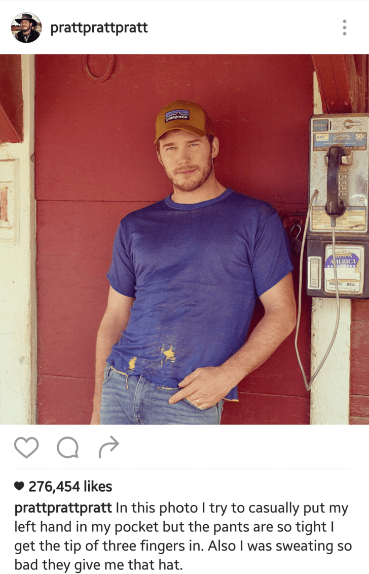 Muscle - prattprattpratt patagonia 50 AMERICA PACTIC BELL 276,454 likes prattprattpratt In this photo I try to casually put my left hand in my pocket but the pants are so tight I get the tip of three fingers in. Also I was sweating so bad they give me that hat.