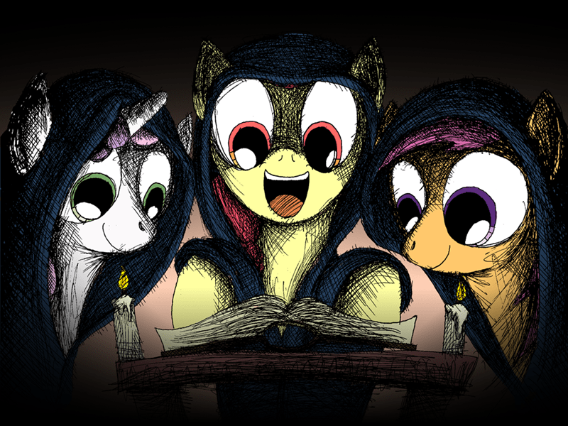 lovecraft,Sweetie Belle,apple bloom,Scootaloo
