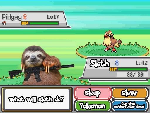 sloth - Cartoon - Pidgey HP Lu17 Skth& Lu42 HP 89 89 Skw whot will soth d Pekemon Gun that Pmotharfuckar down!
