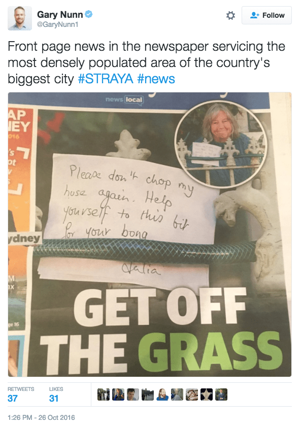 funny parenting tweet grandma lease passive aggressive note to kids cutting her hose for bongs