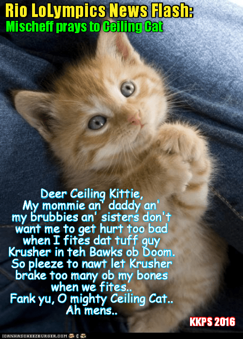 Rio News Flash: On teh morning of her fite wiff Krusher Kalashnikov in teh dreaded Box of Doom, sweet Mischeffs stops at teh Chapel in teh LoLympic Village an' says a prayer to Ceiling Cat.. Her chances to defeat Krusher & win teh Gold Medal seem remote..
