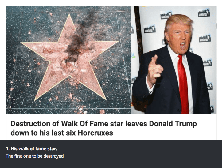 Organism - ES 47 Destruction of Walk Of Fame star leaves Donald Trump down to his last six Horcruxes 1. His walk of fame star. The first one to be destroyed