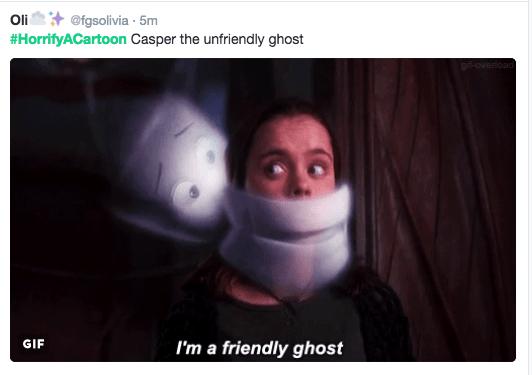 horror cartoon - Facial expression - Oli @fgsolivia 5m #HorrifyACartoon Casper the unfriendly ghost goverioad GIF I'm a friendly ghost