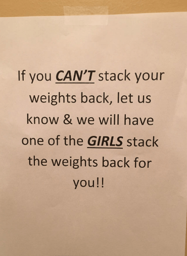 Text - If you CAN'T stack your weights back, let us know & we will have one of the GIRLS stack the weights back for you!!