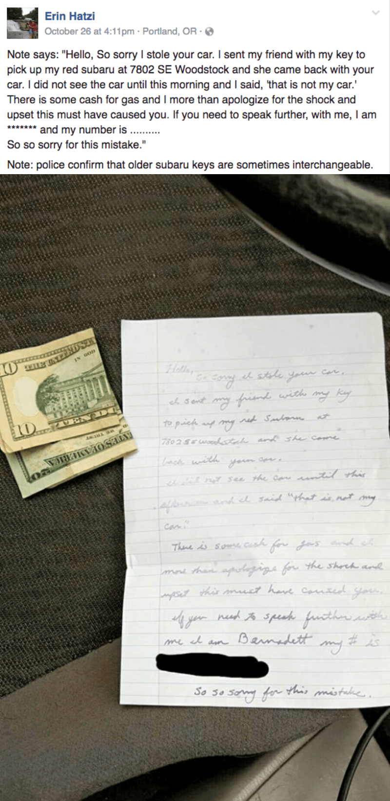funny fail facebook image woman finds car stolen by accident with nice return note