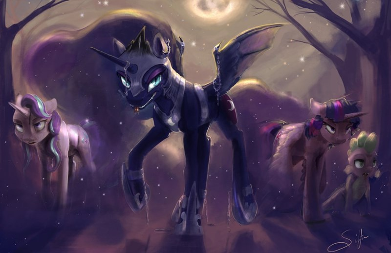 spike nightmare moon halloween starlight glimmer twilight sparkle nightmare night princess luna