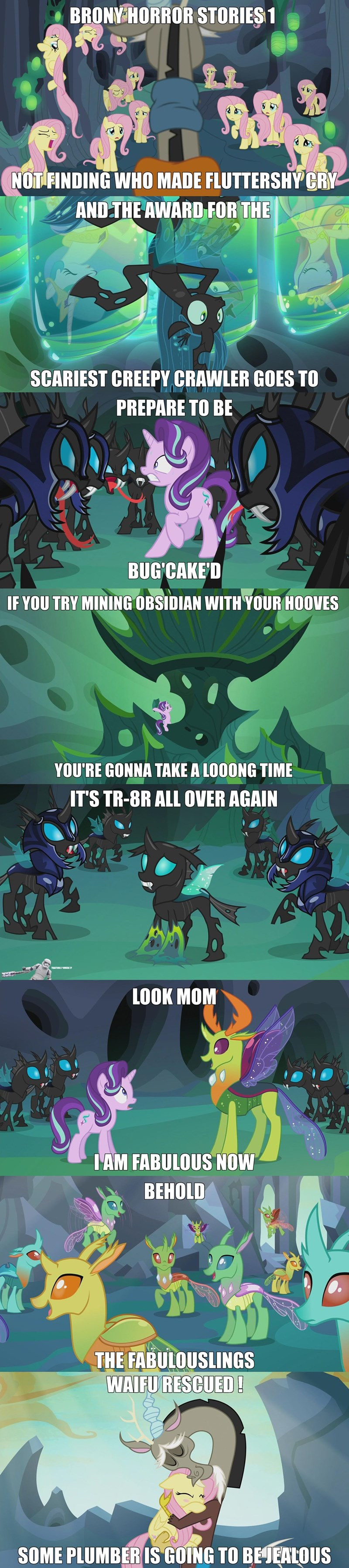 thorax,discord,starlight glimmer,Memes,chrysalis,to where and back again,fluttershy,changelings