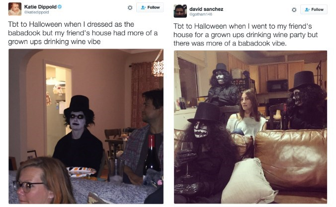 image babadook tweet When You Accidentally End up at the Wrong Halloween Party