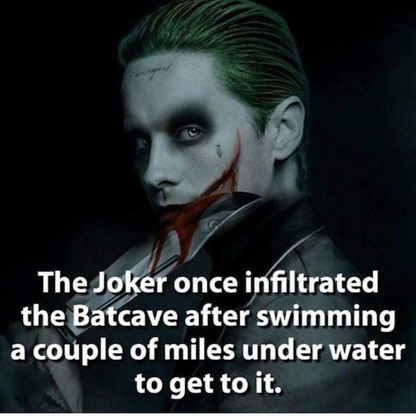 Photo caption - The Joker once infiltrated the Batcave after swimming a couple of miles under water to get to it.