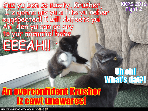 Teh Box of Doom Event: Suddenly Mischeffs had an inspiration and pownsed on teh unsuspecting Krusher as hims were showting at teh angry crowd! Certainly, Mischeff realized, dis wer her only pawsible chance to defeat dat nawty Krusher guy!