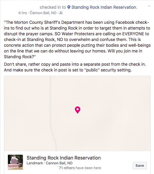 shreiff says department not checking facebook for dapl protestors