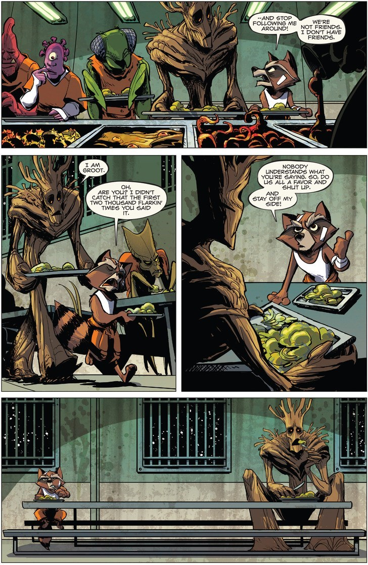 Comics - AND STOP WE'RE FOLLOWING ME NOT FRIENDS AROLND! I DON'T HAVE FRIENDS I AM GROOT. NOBODY UNDERSTANDS WHAT YOU'RE SAYING. 60, DO uS ALL A FAVOR AND SHUT UP AND STAY OFF MY SIDE! OH, ARE YOU? I DIDN'T CATCH THAT THE FIRST TWO THOLSAND FLARKIN TIMES YOU 6AID IT.