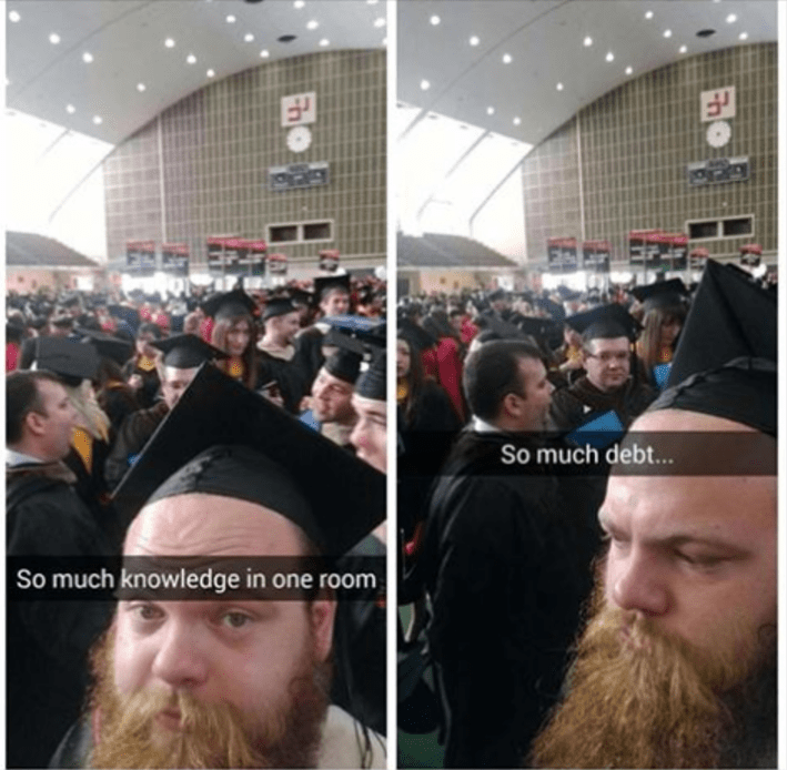 funny school image graduation is a see of knowledge and debt