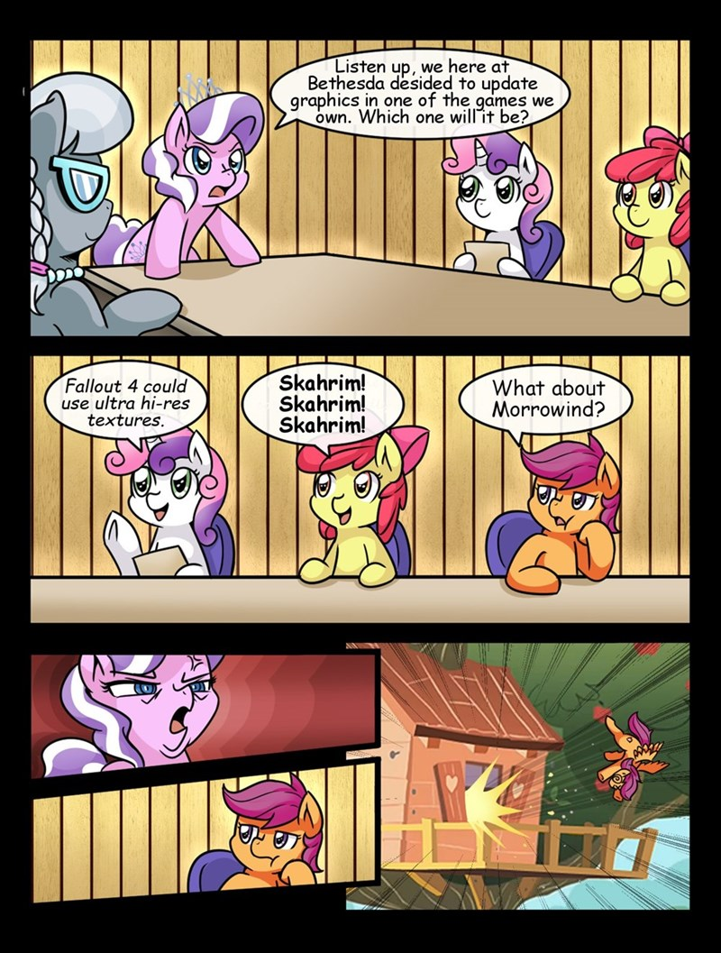 apple bloom,bethesda,diamond tiara,Memes,Skyrim,morrowind,Scootaloo,silver spoon,fallout,Sweetie Belle,boardroom suggestion