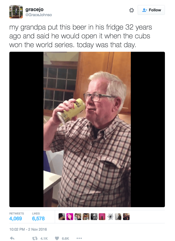 Grandfather Opens 32-Year-Old Beer After Cubs Win the World Series