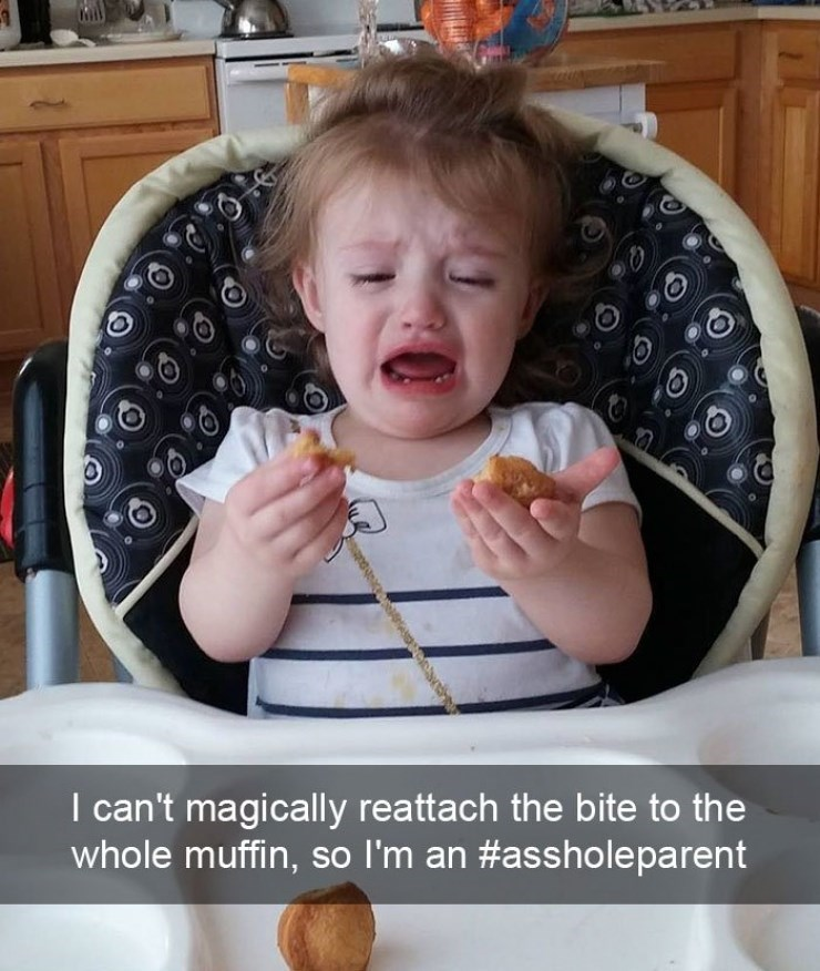 Little girl crying because the muffin can not be put back together magically.