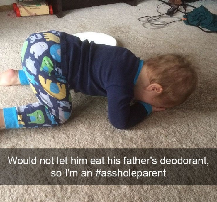 Kid crying because he can't eat his father's deodorant.