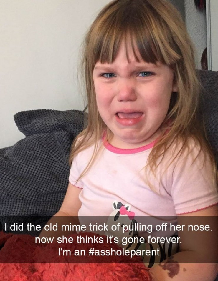 Kid crying because she thinks her parent really stole her nose.