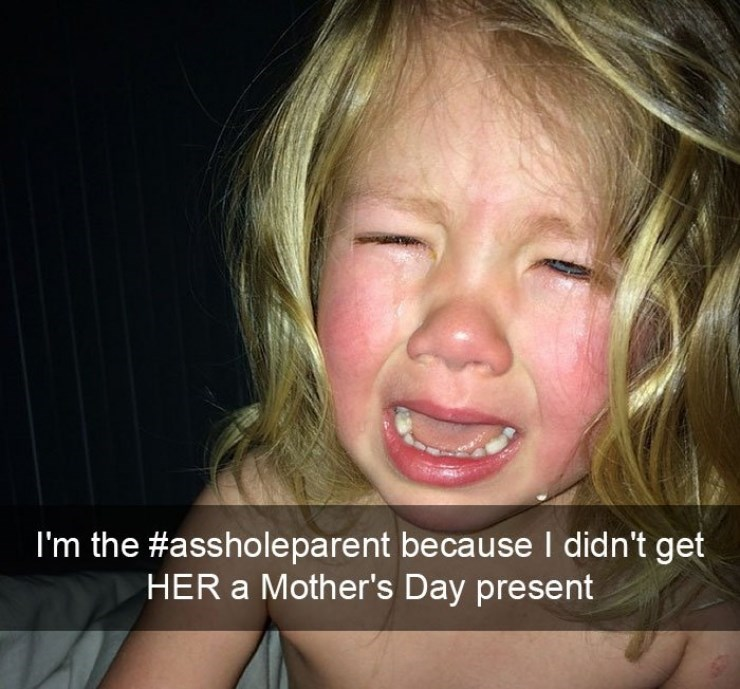 Girl crying because she didn't get an Mother's Day presents