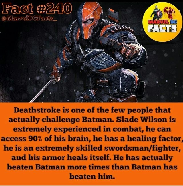 Fictional character - Fact #240 MarvelDCFacts MARVEL DC FACTS Deathstroke is one of the few people that actually challenge Batman. Slade Wilson is extremely experienced in combat, he can access 90% of his brain, he has a healing factor, he is an extremely skilled swordsman/fighter, and his armor heals itself. He has actually beaten Batman more times than Batman has beaten him.