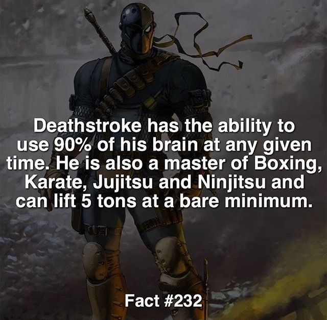 Action-adventure game - 09990 Deathstroke has the ability to use 90% of his brain at any given time. He is also a master of Boxing, Karate, Jujitsu and Ninjitsu and can lift 5 tons at a bare minimum. Fact #232