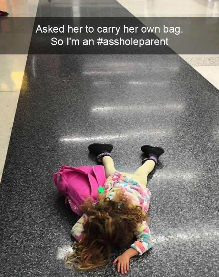 Kids throwing temper tantrum because she has to carry her own bag.