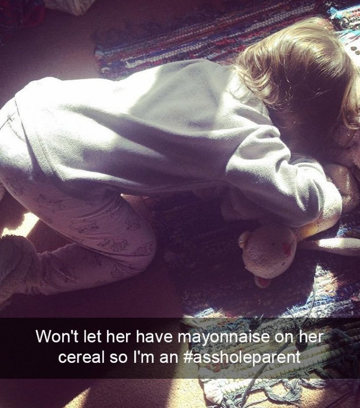 Kid crying because not permitted to have mayonnaise with her cereal.