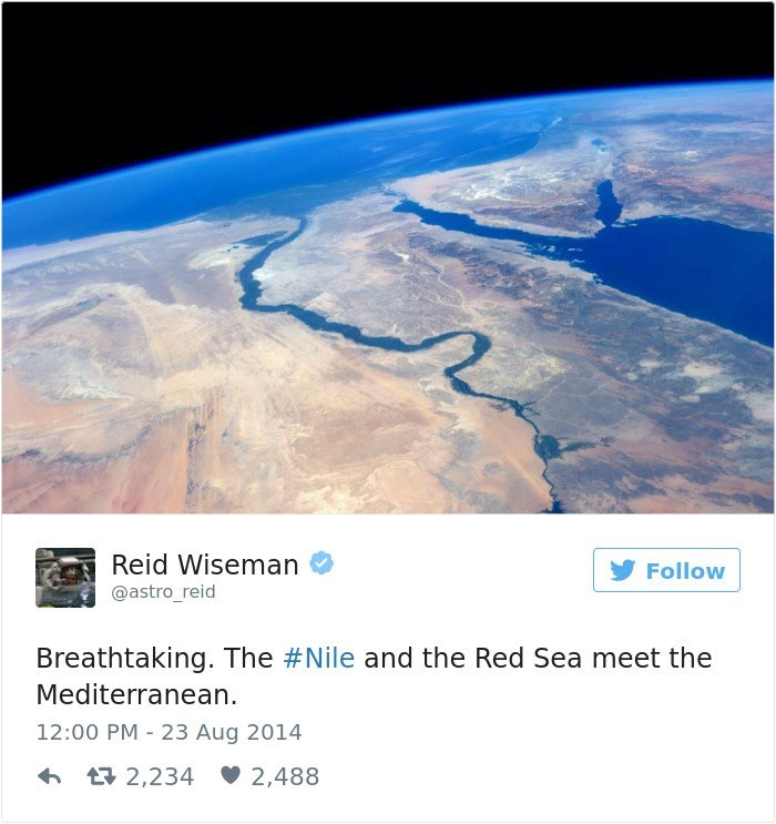 Atmosphere - Reid Wiseman Follow @astro_reid Breathtaking. The #Nile and the Red Sea meet the Mediterranean 12:00 PM 23 Aug 2014 2,234 2,488