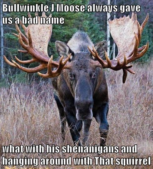 Bullwinkle J Moose always gave us a bad name  what with his shenanigans and hanging around with That squirrel
