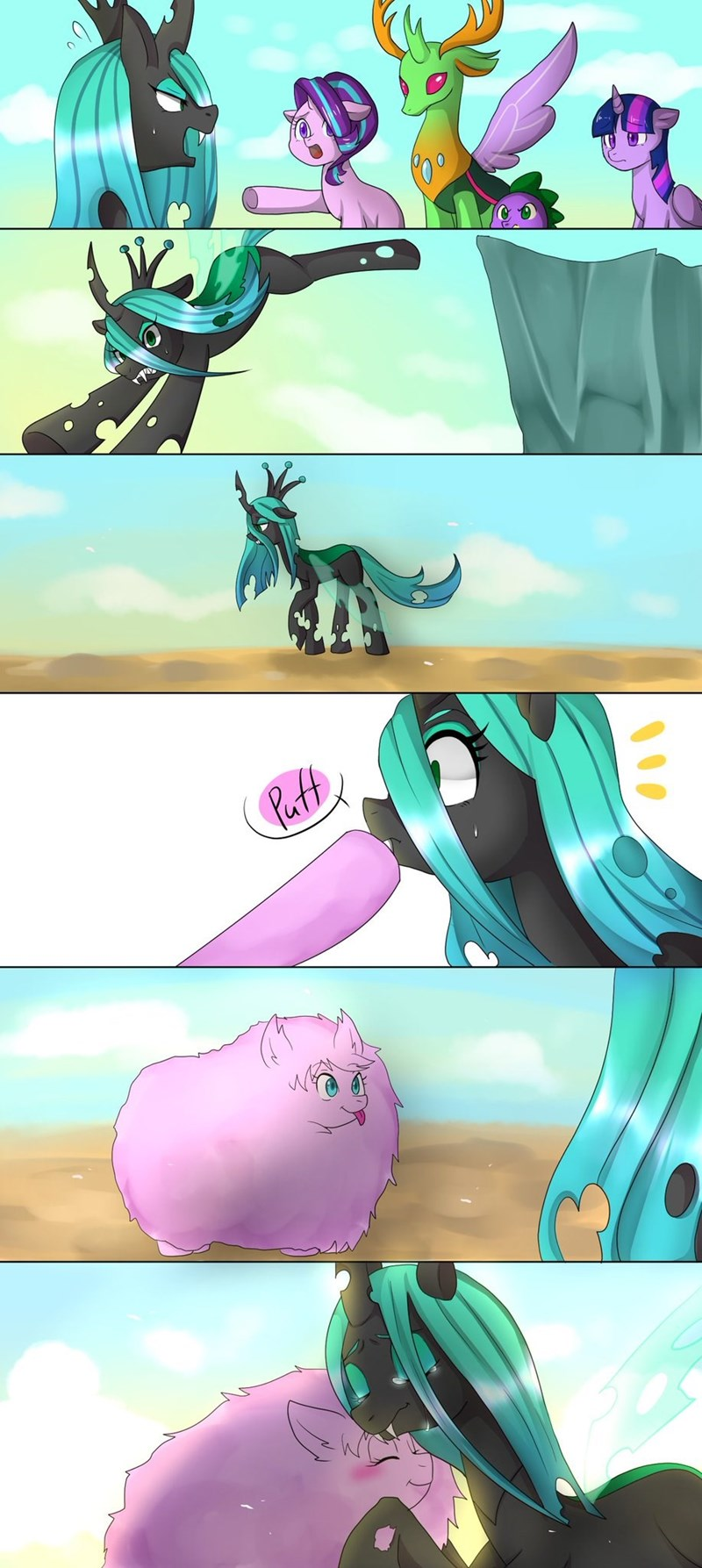 fluffle puff spike thorax starlight glimmer twilight sparkle chrysalis comic to where and back again changelings - 8988014336