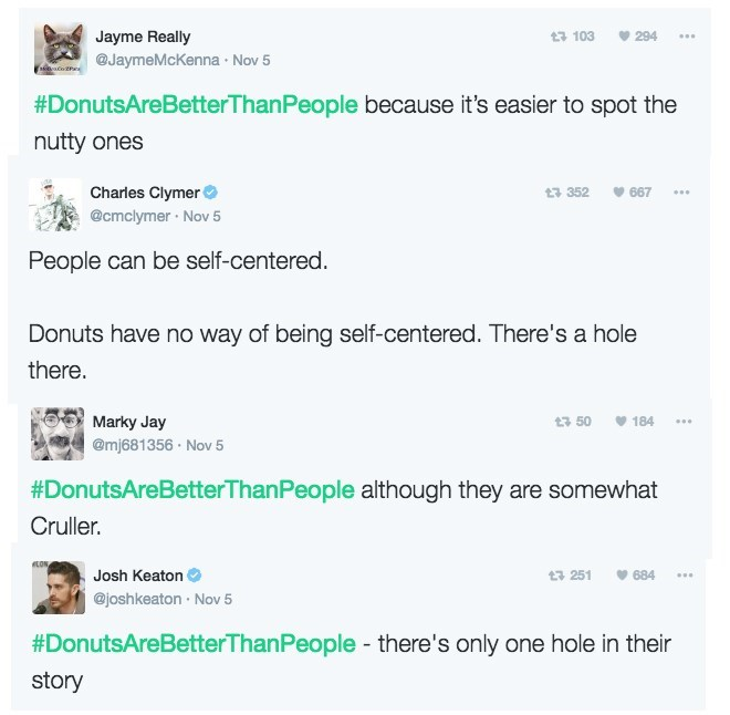 donut pun - Text - Jayme Really 3 103 294 @JaymeMcKenna Nov 5 #DonutsAreBetterThanPeople because it's easier to spot the nutty ones Charies Clymer t3 352 667 @cmclymer Nov 5 People can be self-centered. Donuts have no way of being self-centered. There's a hole there. t3 50 184 Marky Jay @mj681356 Nov 5 #DonutsAreBetterThan People although they are somewhat Cruller LON, Josh Keaton 251 684 @joshkeaton Nov 5 there's only one hole in their #DonutsAreBetterThanPeople story