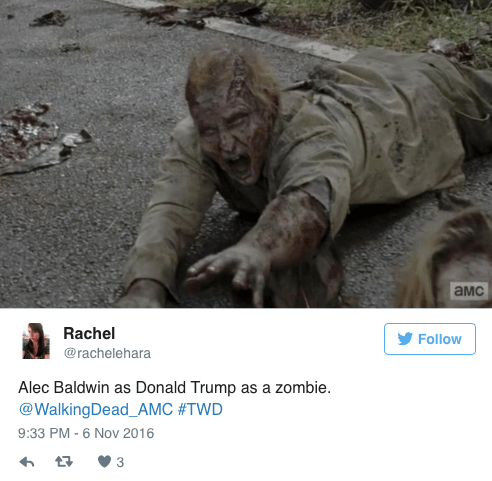 Adaptation - амс Rachel Follow @rachelehara Alec Baldwin as Donald Trump as a zombie. @WalkingDead_AMC #TWD 9:33 PM -6 Nov 2016