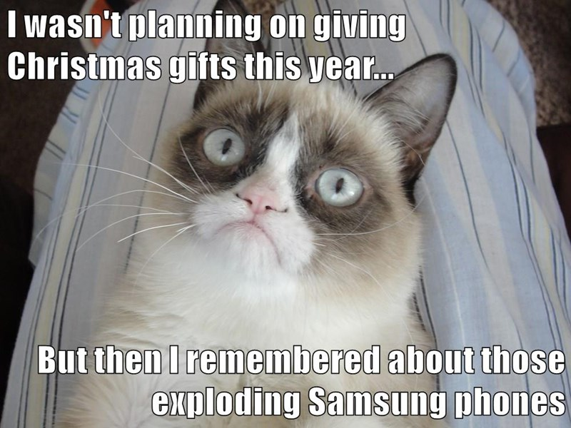 I wasn't planning on giving Christmas gifts this year...  But then I remembered about those exploding Samsung phones