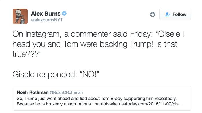 gisele tom brady challenge trump endorsement